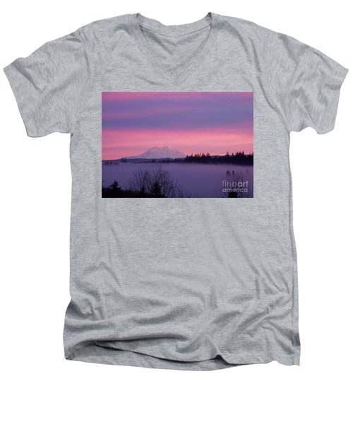 Men's V-Neck T-Shirt featuring the photograph Purple Mountain Majesty by Chalet Roome-Rigdon