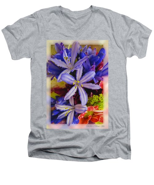 Men's V-Neck T-Shirt featuring the photograph Purple Stars by Debbie Portwood