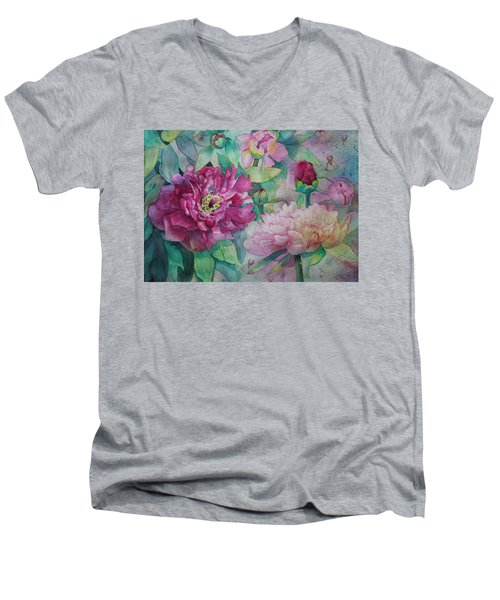 Men's V-Neck T-Shirt featuring the painting Queen Of The Garden by Ruth Kamenev