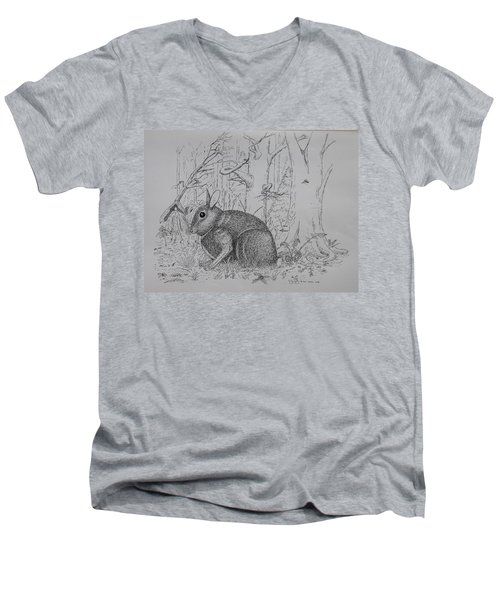 Rabbit In Woodland Men's V-Neck T-Shirt