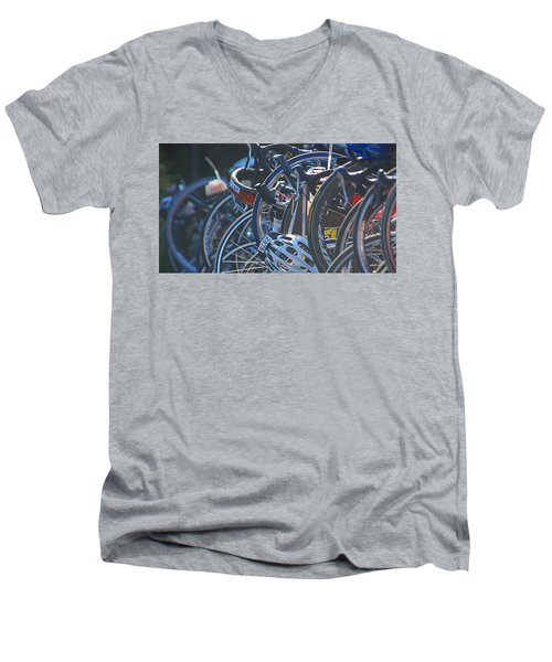 Men's V-Neck T-Shirt featuring the photograph Racing Bikes by Sarah McKoy