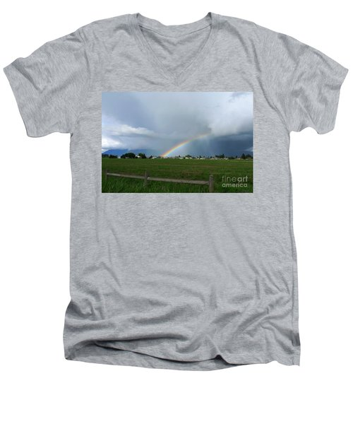 Men's V-Neck T-Shirt featuring the photograph Rainbow Before The Storm by Nina Prommer
