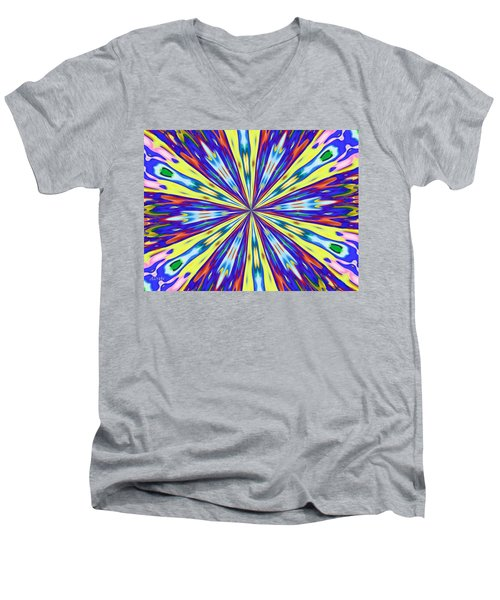 Men's V-Neck T-Shirt featuring the digital art Rainbow In Space by Alec Drake