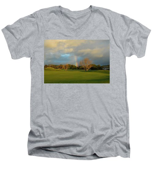 Men's V-Neck T-Shirt featuring the photograph Rainbow Over Princeville by Lynn Bauer