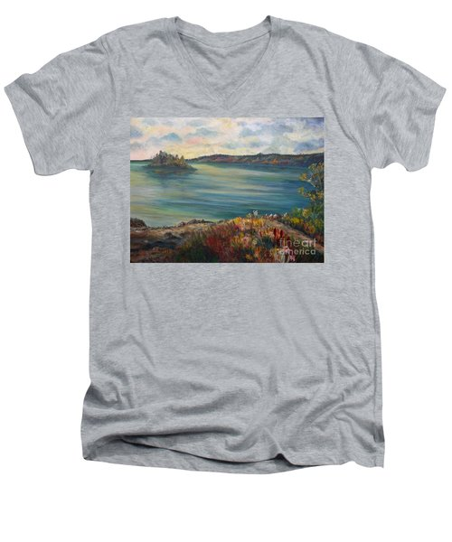 Men's V-Neck T-Shirt featuring the painting Rainy Lake Michigan by Julie Brugh Riffey