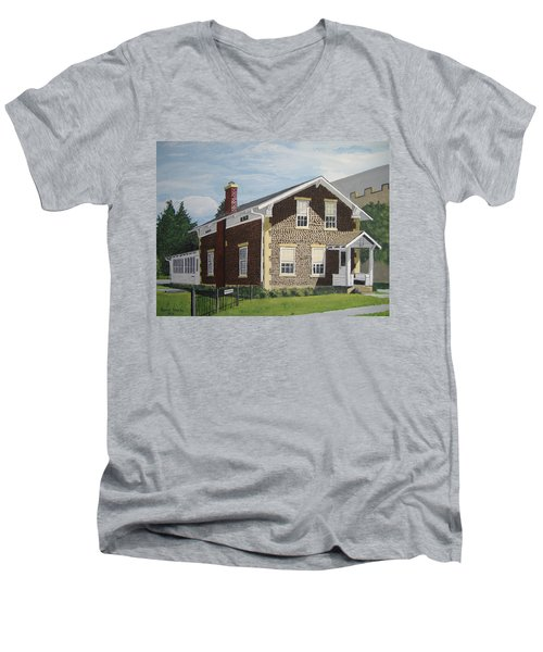 Men's V-Neck T-Shirt featuring the painting Rasey House by Norm Starks