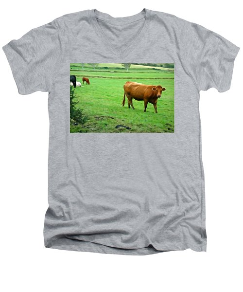 Men's V-Neck T-Shirt featuring the photograph Red Cow by Charlie and Norma Brock