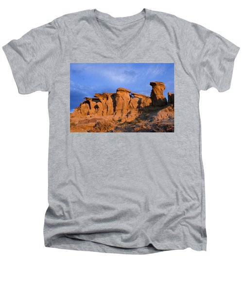Red Rock Sunset Men's V-Neck T-Shirt by Rich Franco