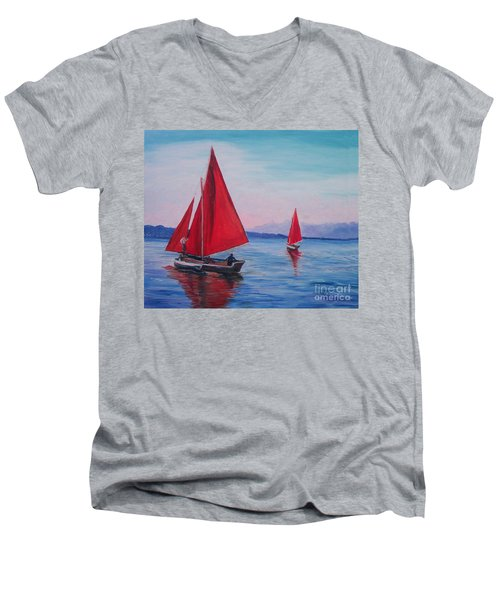 Men's V-Neck T-Shirt featuring the painting Red Sails On Irish Coast by Julie Brugh Riffey