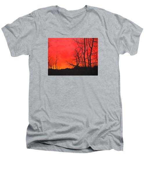 Red Sky  Men's V-Neck T-Shirt by Dan Whittemore