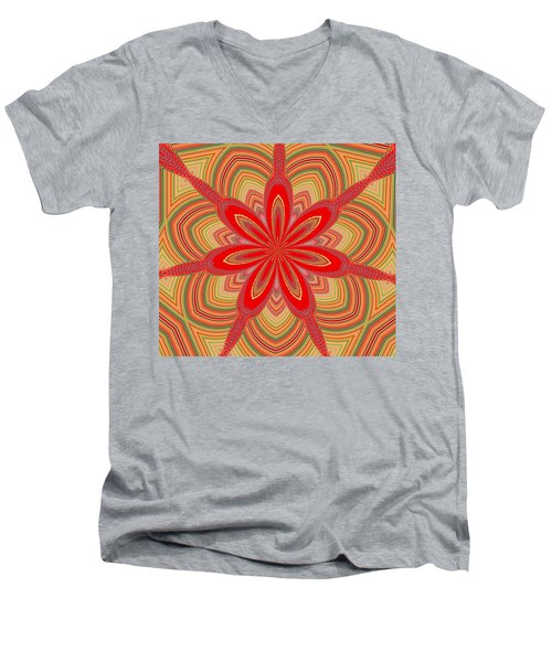 Men's V-Neck T-Shirt featuring the digital art Red Star Brocade by Alec Drake