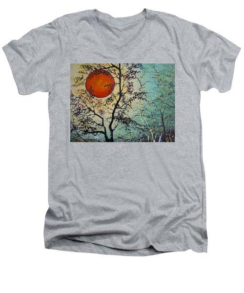 Red Sun A Red Moon Men's V-Neck T-Shirt by Dan Whittemore