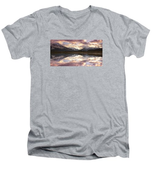 Reflecting Mountains Men's V-Neck T-Shirt by Keith Kapple