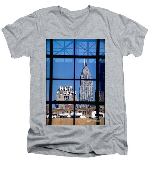 Reflection Empire State Building Men's V-Neck T-Shirt by Mark Gilman
