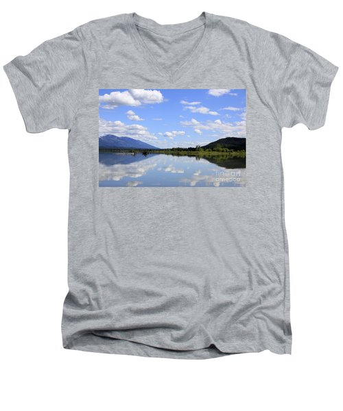 Men's V-Neck T-Shirt featuring the photograph Reflections On Swan Lake by Nina Prommer