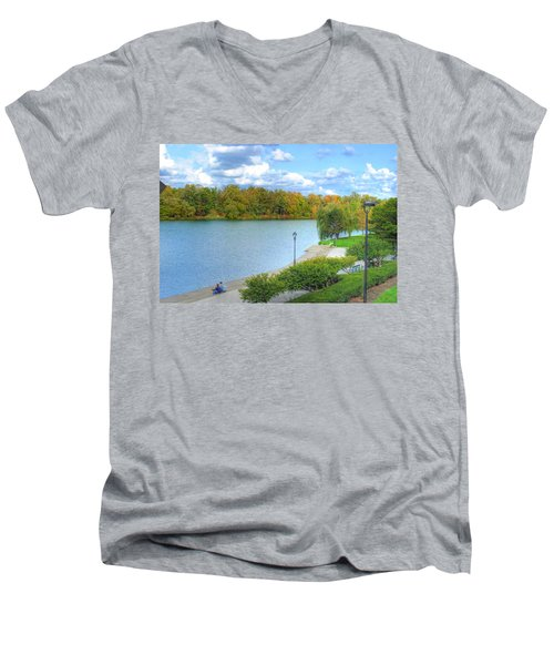Men's V-Neck T-Shirt featuring the photograph Relaxing At Hoyt Lake by Michael Frank Jr