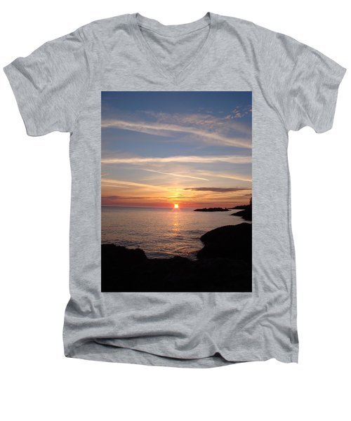 Men's V-Neck T-Shirt featuring the photograph Rising Sun by Bonfire Photography
