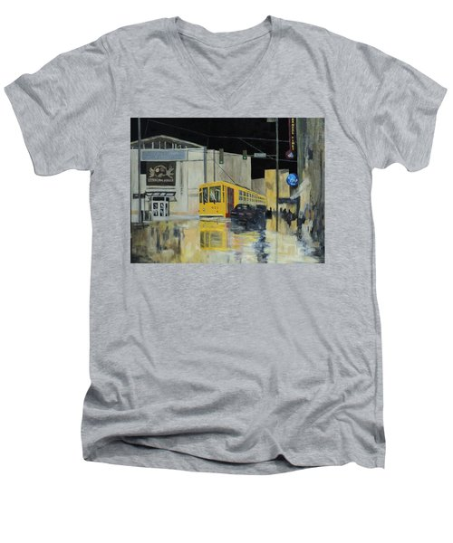 Rivermarket Streetcar 411 Men's V-Neck T-Shirt by Angelo Thomas