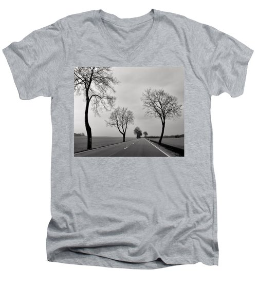 Road Through Windy Fields Men's V-Neck T-Shirt