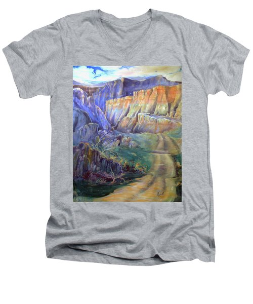 Road To Rainbow Gulch Men's V-Neck T-Shirt by Gertrude Palmer