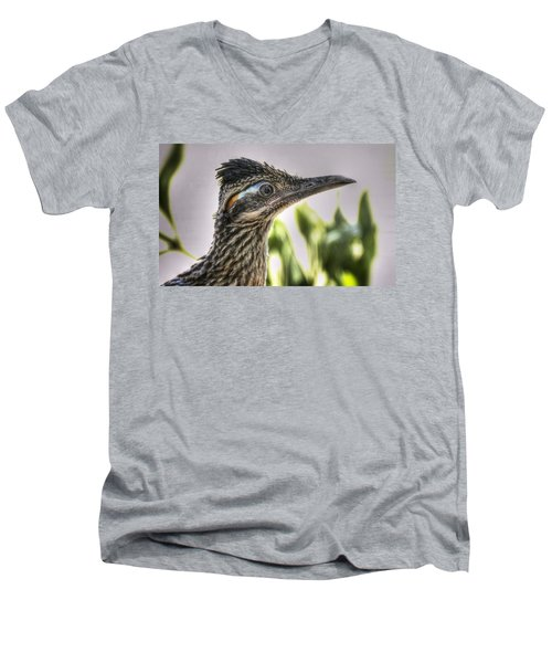 Roadrunner Portrait  Men's V-Neck T-Shirt by Saija  Lehtonen