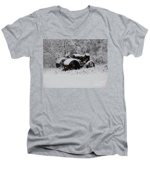 Men's V-Neck T-Shirt featuring the photograph Robed In White by Christian Mattison
