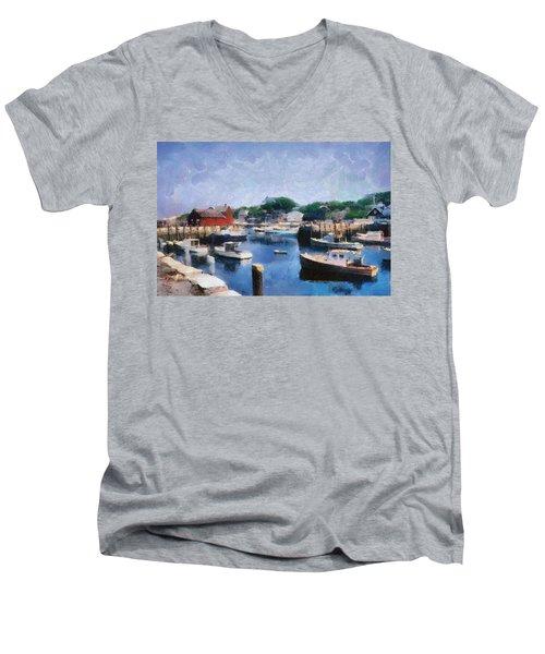 Rockport Maine Harbor Men's V-Neck T-Shirt