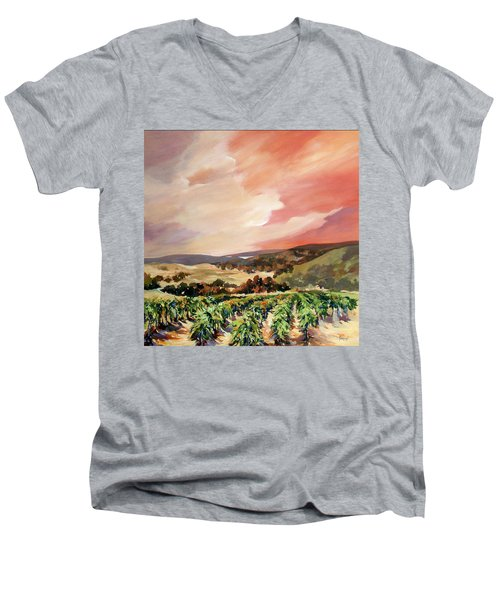 Men's V-Neck T-Shirt featuring the painting Rolling Vineyards 2 by Rae Andrews