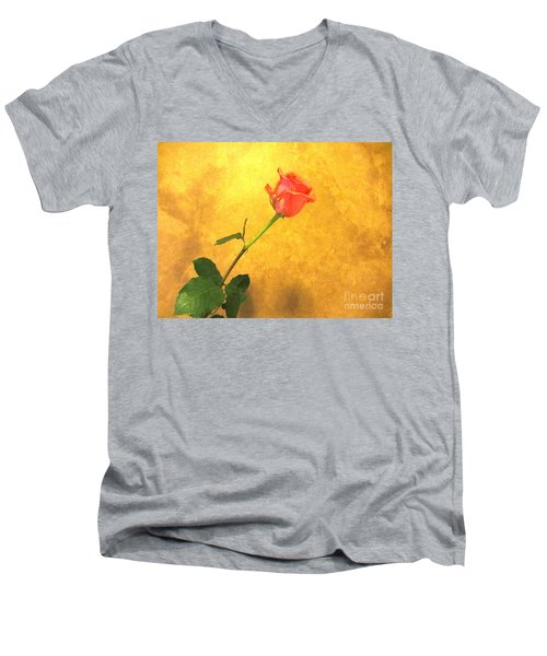 Men's V-Neck T-Shirt featuring the photograph Rose On Leather by Susan Carella