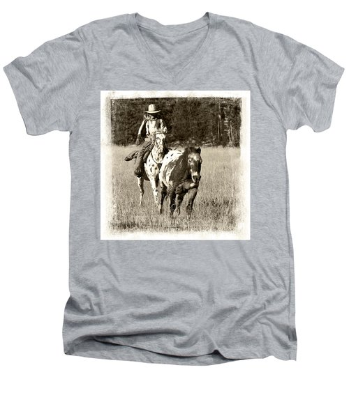 Men's V-Neck T-Shirt featuring the photograph Round-up by Jerry Fornarotto