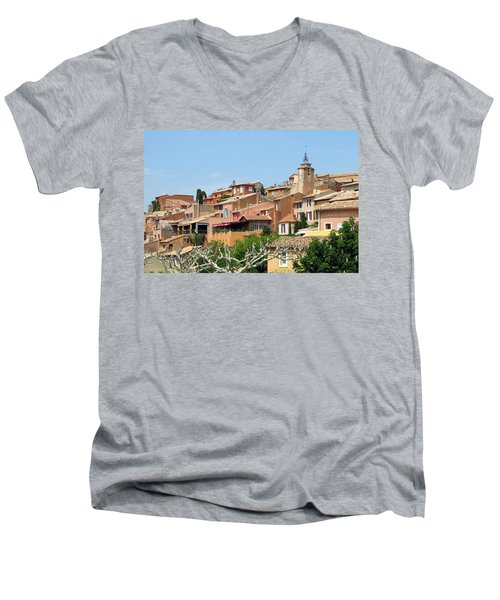 Men's V-Neck T-Shirt featuring the photograph Roussillon In Provence by Carla Parris