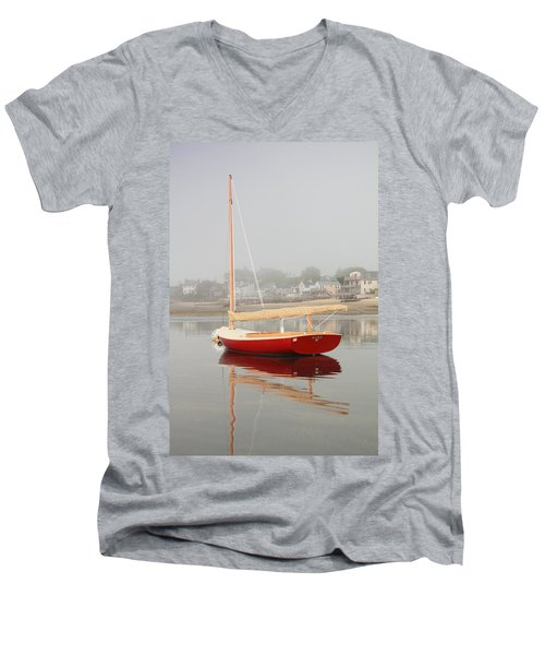 Ruby Red Catboat Men's V-Neck T-Shirt
