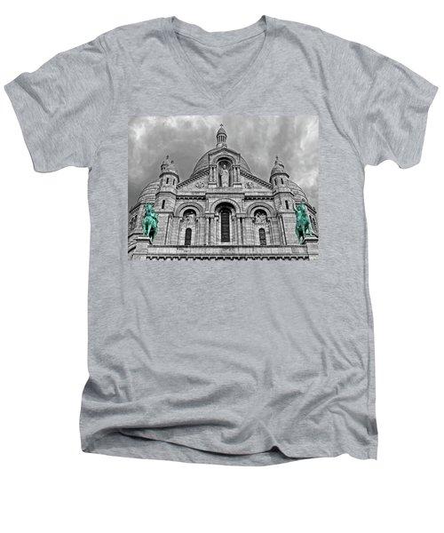 Men's V-Neck T-Shirt featuring the photograph Sacre Coeur Montmartre Paris by Dave Mills