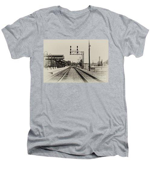 Salisbury North Carolina Depot Men's V-Neck T-Shirt by Wilma  Birdwell