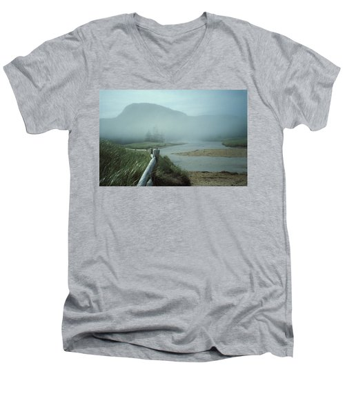 Sand Beach Fog Men's V-Neck T-Shirt by Brent L Ander