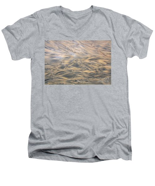 Men's V-Neck T-Shirt featuring the photograph Sand Patterns by Nareeta Martin