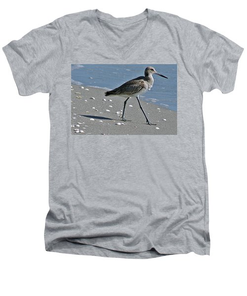 Sandpiper 1 Men's V-Neck T-Shirt by Joe Faherty