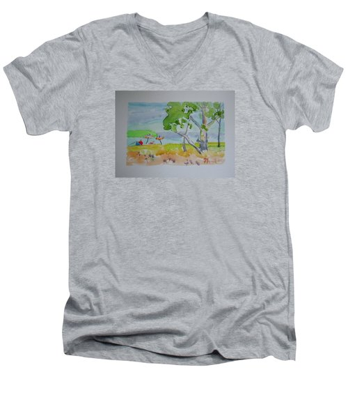 Men's V-Neck T-Shirt featuring the painting Sandpoint Bathers by Francine Frank