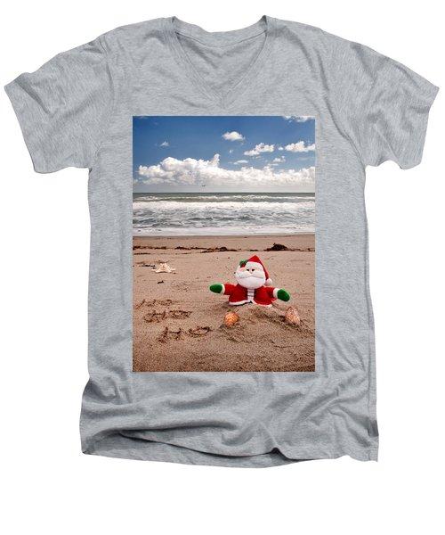 Santa At The Beach Men's V-Neck T-Shirt