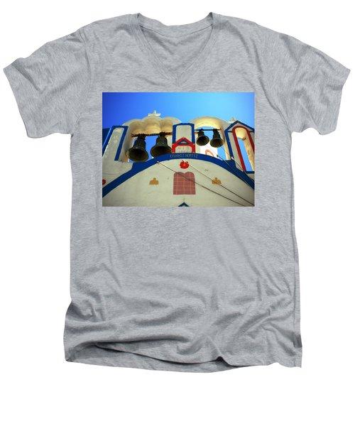 Men's V-Neck T-Shirt featuring the photograph Santorini Thirasia Island Greece by Colette V Hera  Guggenheim
