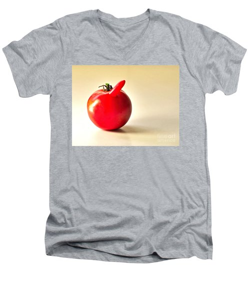 Men's V-Neck T-Shirt featuring the photograph Saucy Tomato by Sean Griffin