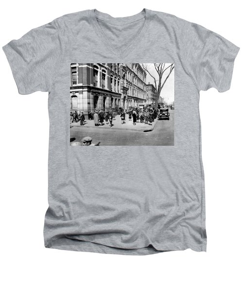 School's Out In Harlem Men's V-Neck T-Shirt by Underwood Archives
