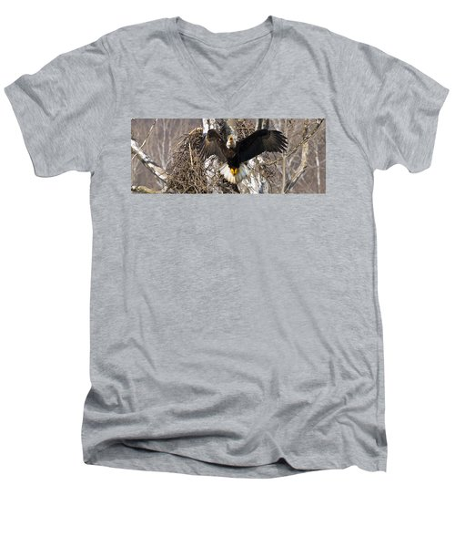 Men's V-Neck T-Shirt featuring the photograph Screaming Eagle  by Randall Branham