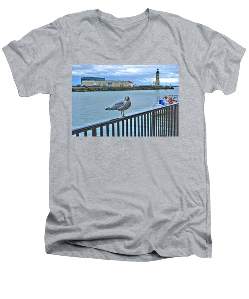 Men's V-Neck T-Shirt featuring the photograph Seagull At Lighthouse by Michael Frank Jr