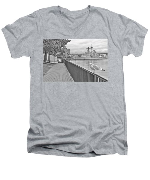Men's V-Neck T-Shirt featuring the photograph Seagull At The Naval And Military Park by Michael Frank Jr