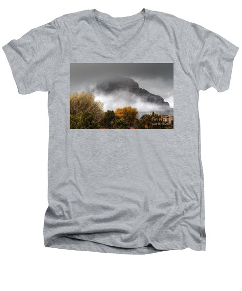 Men's V-Neck T-Shirt featuring the photograph Sedona Fog by Tam Ryan