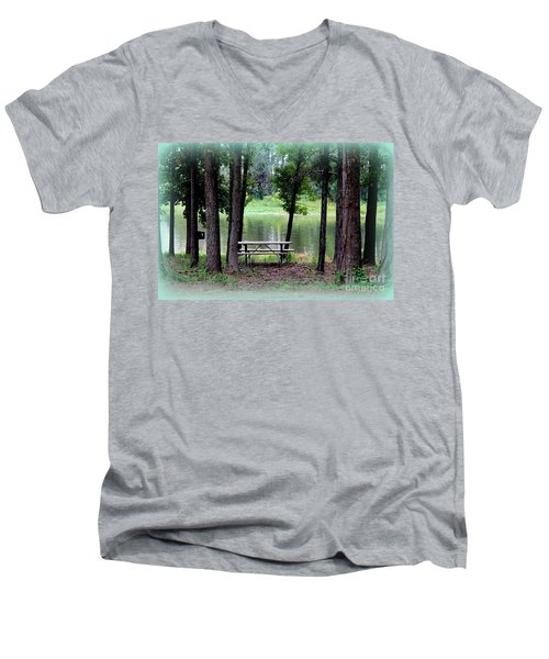 Men's V-Neck T-Shirt featuring the photograph Serene Escape by Kathy  White