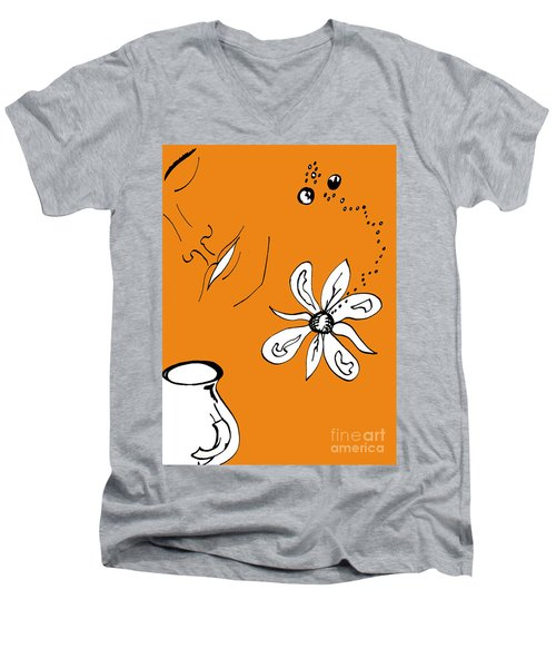 Serenity In Orange Men's V-Neck T-Shirt