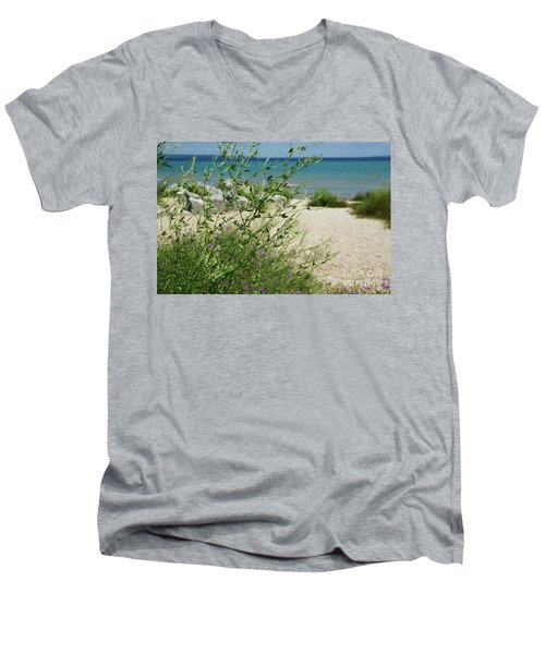 Men's V-Neck T-Shirt featuring the photograph Shades Of Blue by Linda Shafer