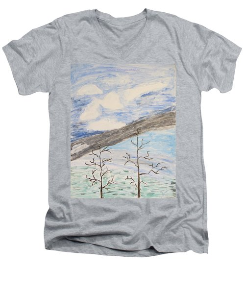 Men's V-Neck T-Shirt featuring the painting Shades Of Nature by Sonali Gangane